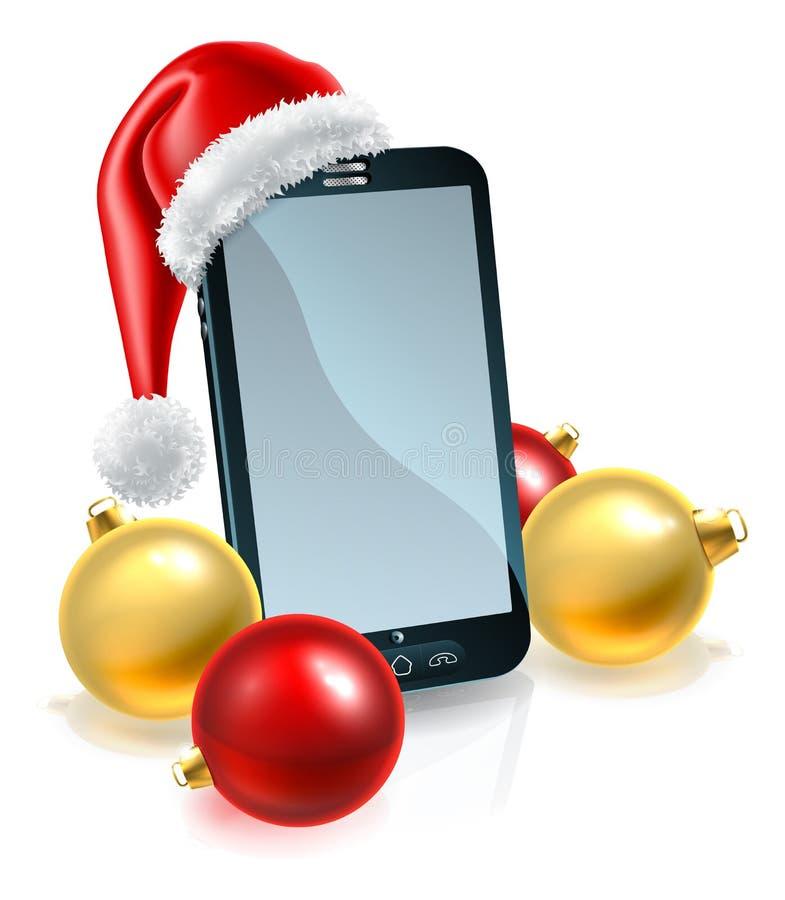 Κινητό τηλέφωνο Χριστουγέννων στο καπέλο Santa ελεύθερη απεικόνιση δικαιώματος