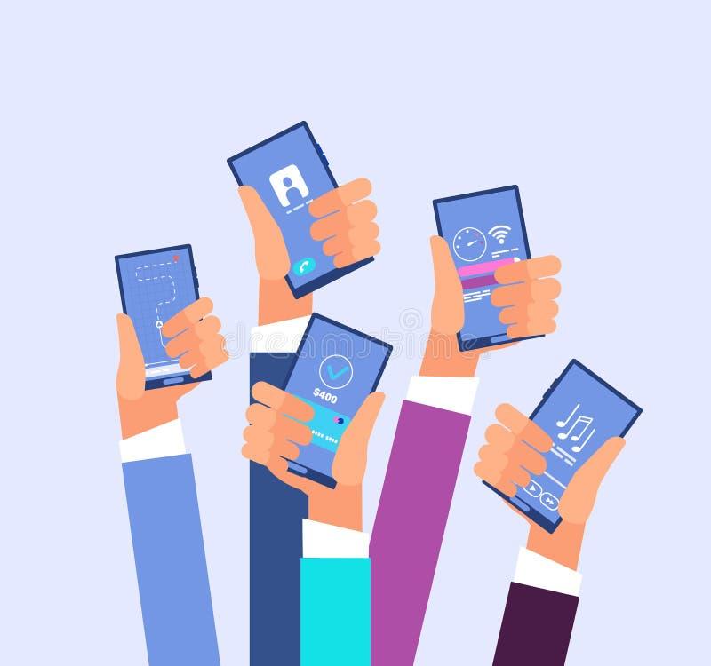 Κινητό τηλέφωνο apps Χέρια που κρατούν smartphones με διαφορετικά εφαρμογή και παιχνίδι Διαδικτύου επίσης corel σύρετε το διάνυσμ διανυσματική απεικόνιση