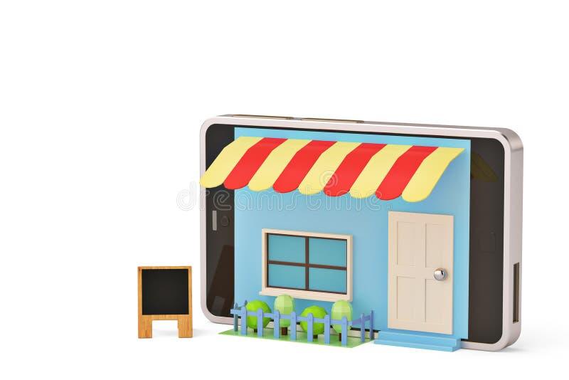 Κινητό τηλεφωνικό κατάστημα σε ένα άσπρο υπόβαθρο τρισδιάστατη απεικόνιση διανυσματική απεικόνιση
