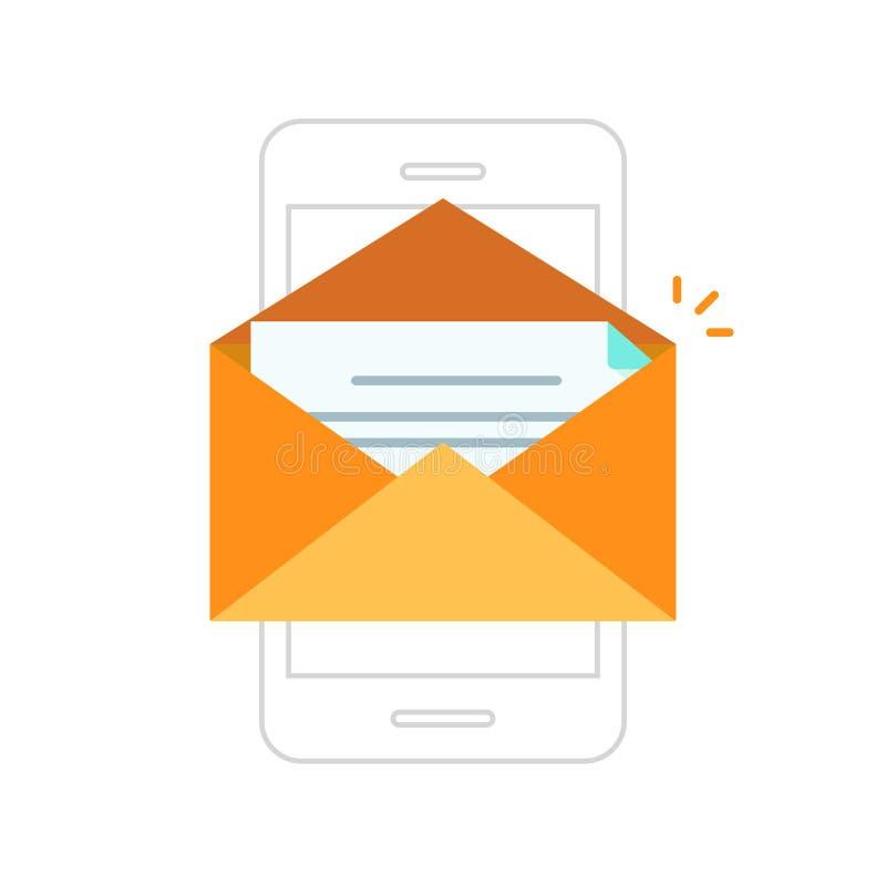 Κινητό τηλέφωνο ανακοίνωσης ηλεκτρονικού ταχυδρομείου, φάκελος με το νέο μήνυμα στο smartphone ελεύθερη απεικόνιση δικαιώματος