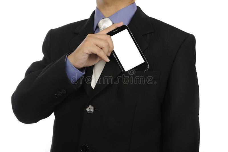 Κινητό τηλέφωνο εκμετάλλευσης επιχειρησιακών ατόμων στοκ φωτογραφία με δικαίωμα ελεύθερης χρήσης