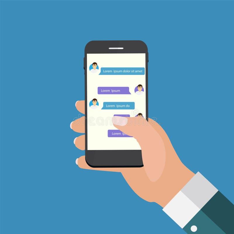 Κινητό τηλέφωνο εκμετάλλευσης χεριών έννοιας Apps η έννοια παρήγαγε ψηφιακά γεια το δίκτυο RES εικόνας κοινωνικό απεικόνιση αποθεμάτων