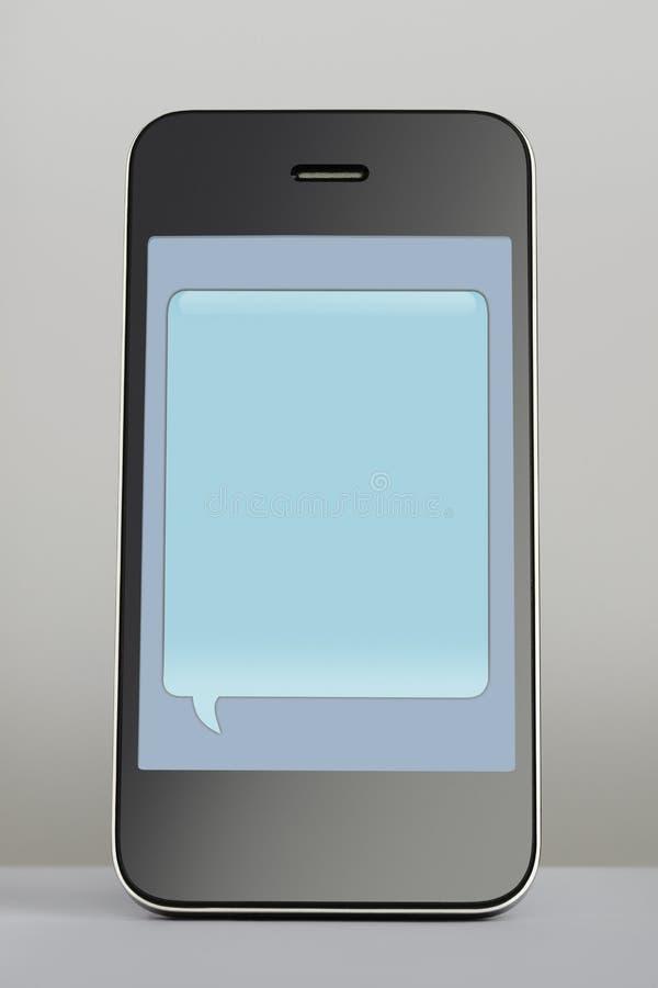 Κινητό τηλέφωνο με τη λεκτική φυσαλίδα μηνυμάτων κειμένου στοκ εικόνες