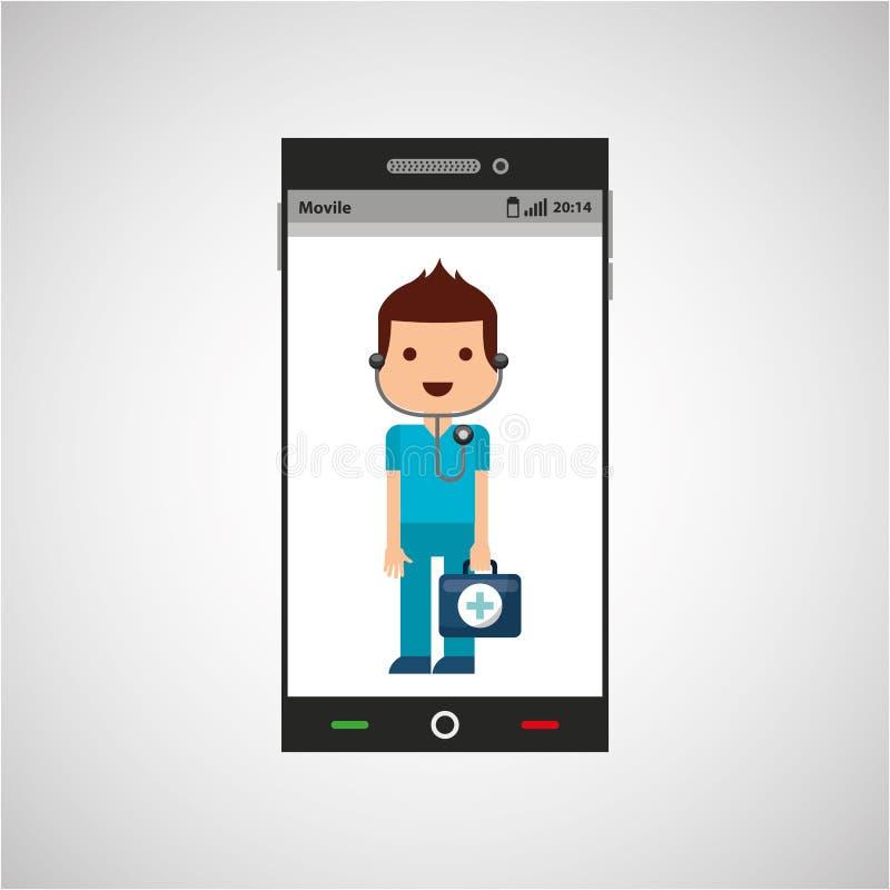Κινητό τηλέφωνο app ιατρών διανυσματική απεικόνιση