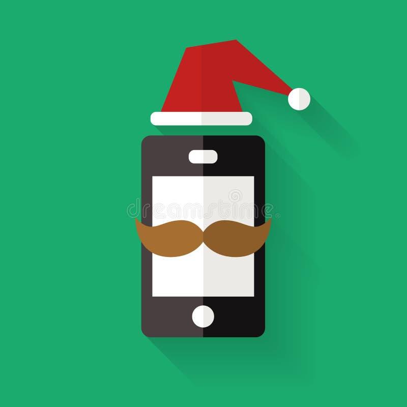Κινητό τηλεφωνικό εικονίδιο Hipster με το καπέλο mustache και Χριστουγέννων, vecto απεικόνιση αποθεμάτων