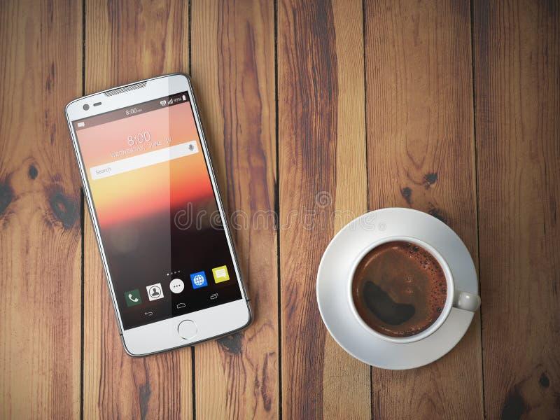 Κινητό φλυτζάνι τηλεφώνων και καφέ στο ξύλινο υπόβαθρο απεικόνιση αποθεμάτων