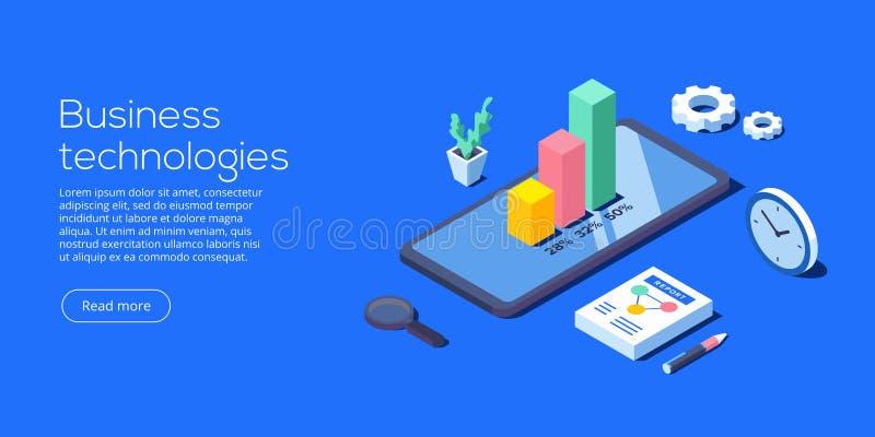 Κινητό app για την επιχειρησιακή ανάλυση Isometric διανυσματική απεικόνιση διανυσματική απεικόνιση