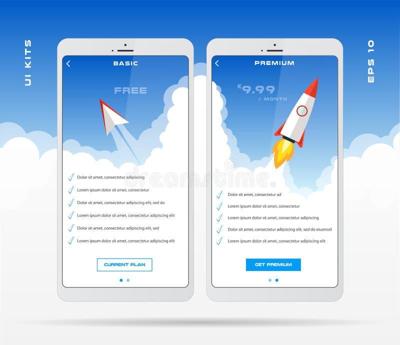 Κινητό app πρότυπο σχεδίου για το σύνολο τιμοκαταλόγων, σχέδιο δασμολογίων, πίνακας τιμολόγησης για την επιχείρηση με τα εικονίδι διανυσματική απεικόνιση