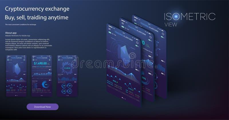 Κινητό app infographic πρότυπο με τις εβδομαδιαίες και ετήσιες γραφικές παραστάσεις στατιστικών σύγχρονου σχεδίου ελεύθερη απεικόνιση δικαιώματος
