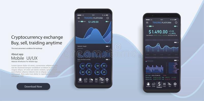 Κινητό app infographic πρότυπο με τις εβδομαδιαίες και ετήσιες γραφικές παραστάσεις στατιστικών σύγχρονου σχεδίου Διαγράμματα πιτ διανυσματική απεικόνιση