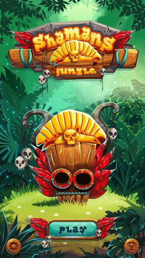 Κινητό GUI ζουγκλών παράθυρο παιχνιδιού σαμάνων διανυσματική απεικόνιση