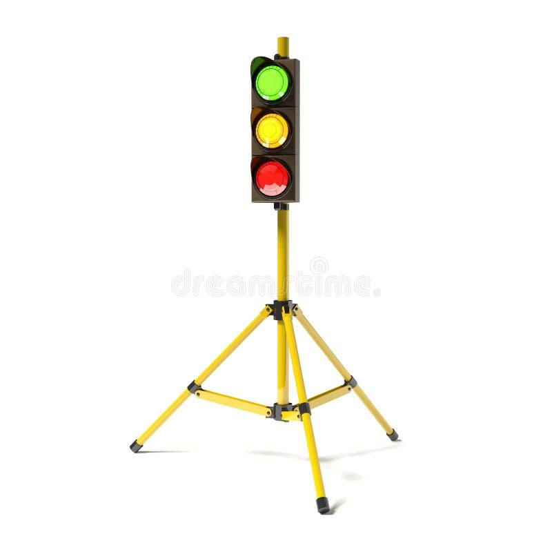 Κινητό stoplight στο τρίποδο στο λευκό διανυσματική απεικόνιση