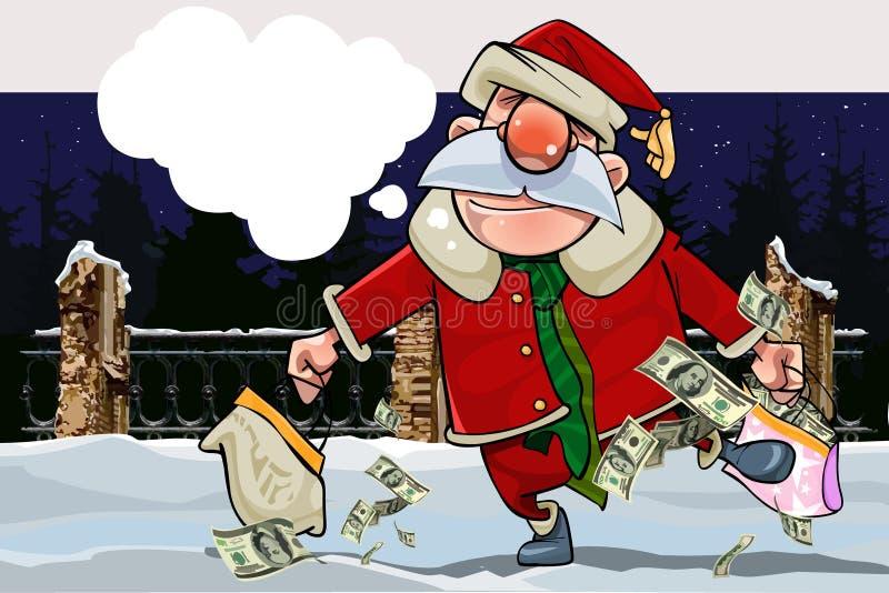 Κινούμενα σχέδια Άγιος Βασίλης με ένα αντίγραφο και με το σύνολο τσαντών των χρημάτων σε μια χειμερινή νύχτα ελεύθερη απεικόνιση δικαιώματος
