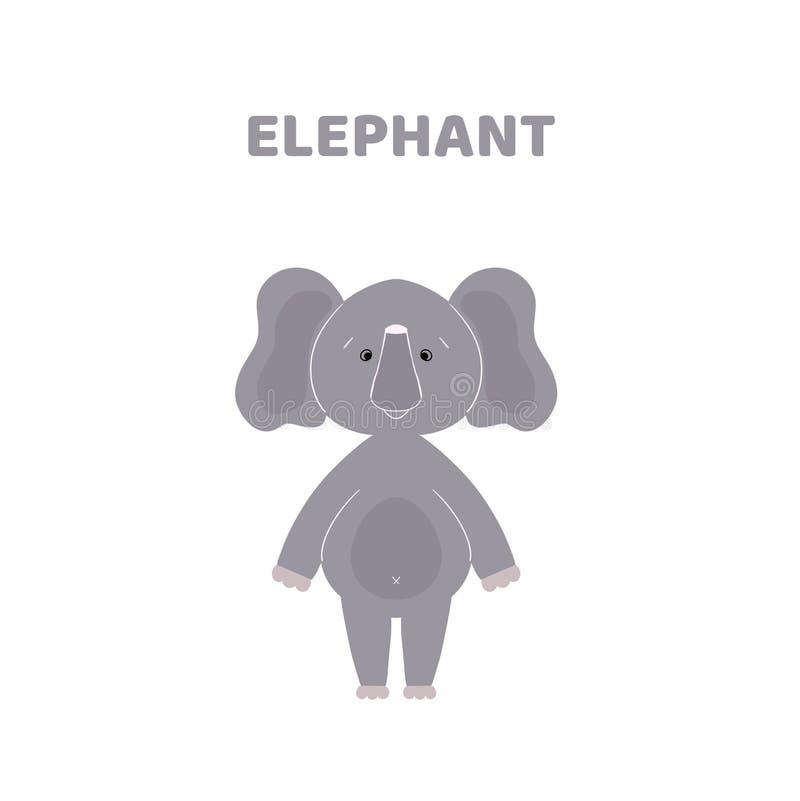Κινούμενα σχέδια ένας χαριτωμένος και αστείος ελέφαντας ελεύθερη απεικόνιση δικαιώματος