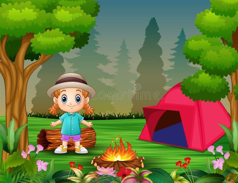 Κινούμενα σχέδια ένα μικρό κορίτσι που στρατοπεδεύει σε ένα δάσος απεικόνιση αποθεμάτων