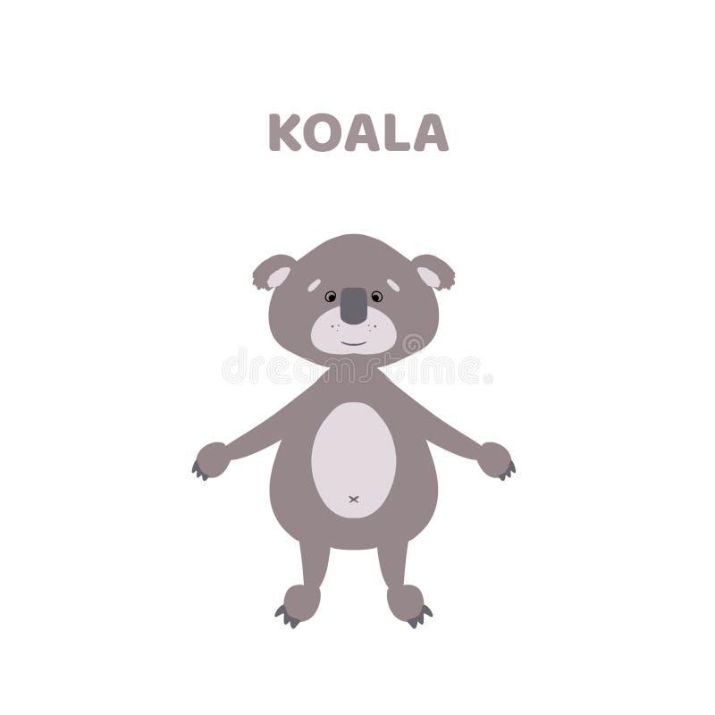 Κινούμενα σχέδια ένα χαριτωμένο και αστείο koala απεικόνιση αποθεμάτων