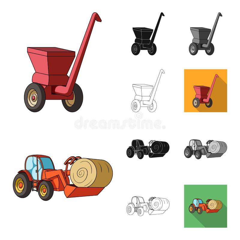 Κινούμενα σχέδια γεωργικών μηχανημάτων, ο Μαύρος, επίπεδος, μονοχρωματικός, εικονίδια περιλήψεων στην καθορισμένη συλλογή για το  διανυσματική απεικόνιση
