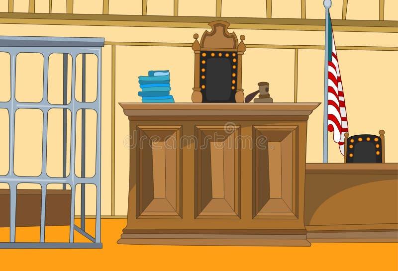 Κινούμενα σχέδια δικαστηρίου διανυσματική απεικόνιση