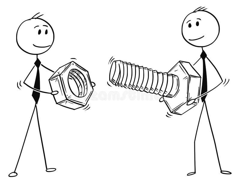 Κινούμενα σχέδια δύο επιχειρηματιών που φέρνουν το μπουλόνι και το καρύδι ως μεταφορά λύσης προβλήματος διανυσματική απεικόνιση