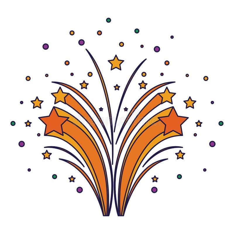 Κινούμενα σχέδια εορτασμού κομμάτων πυροτεχνημάτων sparkly απεικόνιση αποθεμάτων
