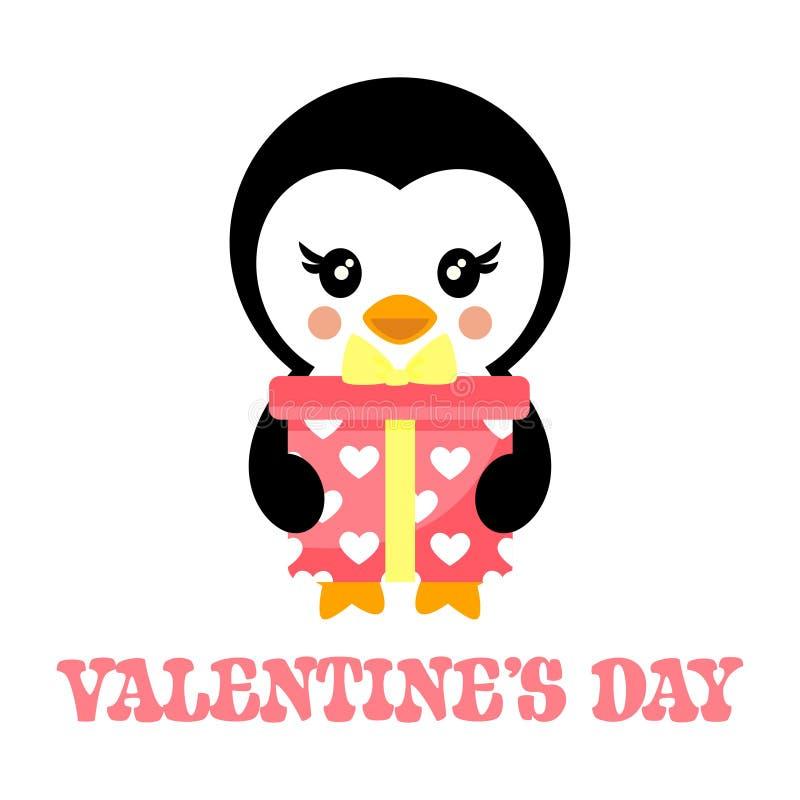 Κινούμενα σχέδια ημέρας βαλεντίνων penguin με το καλό παρόν και το κείμενο διανυσματική απεικόνιση