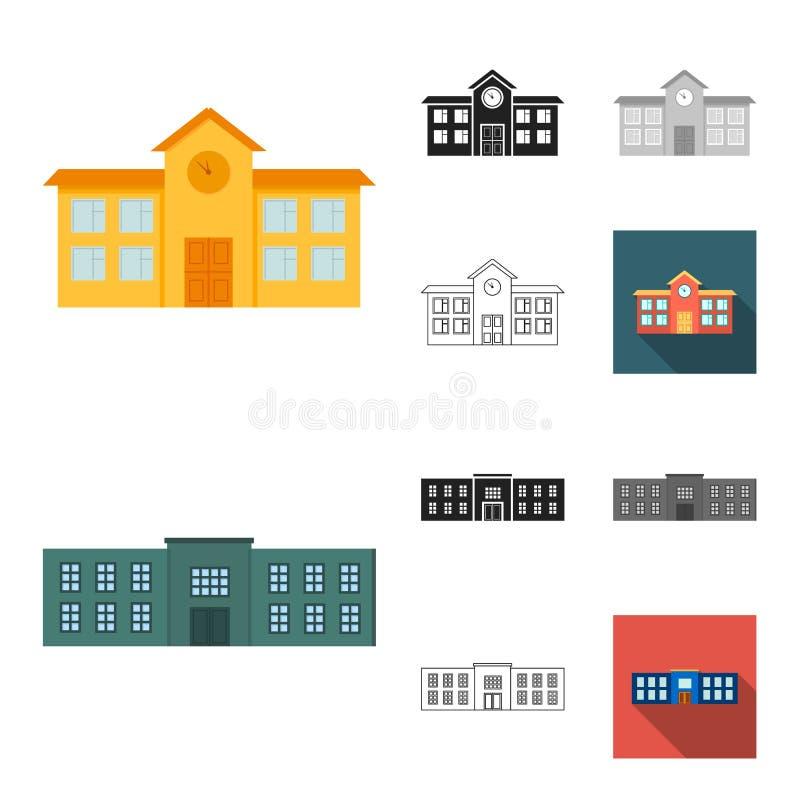 Κινούμενα σχέδια κτηρίου και αρχιτεκτονικής, ο Μαύρος, επίπεδος, μονοχρωματικός, εικονίδια περιλήψεων στην καθορισμένη συλλογή γι διανυσματική απεικόνιση
