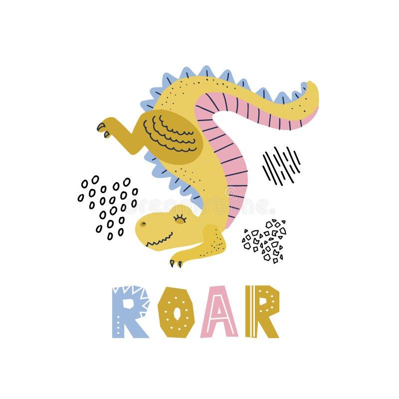 Κινούμενα σχέδια λίγος δεινόσαυρος που στέκεται στην μπροστινή ουρά ποδιών επάνω Χαριτωμένος συρμένος χέρι διανυσματικός χαρακτήρ απεικόνιση αποθεμάτων
