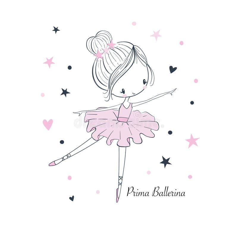 Κινούμενα σχέδια λίγο Prima Ballerina Απλή γραμμική διανυσματική γραφική απομονωμένη απεικόνιση διανυσματική απεικόνιση