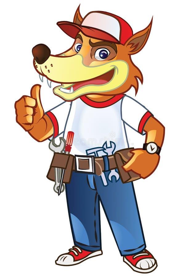 Κινούμενα σχέδια λύκων Handyman απεικόνιση αποθεμάτων