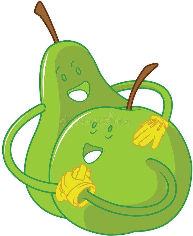 κινούμενα σχέδια μήλων που αγκαλιάζουν το αχλάδι στοκ εικόνα