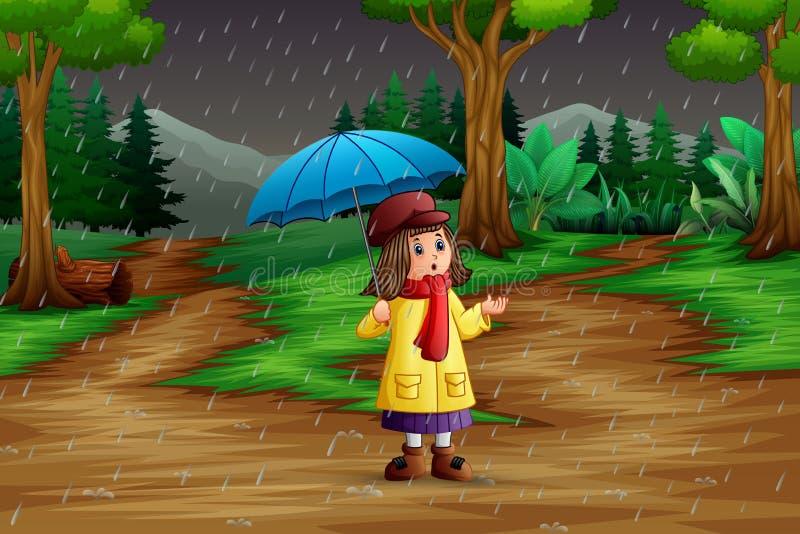 Κινούμενα σχέδια μια φέρνοντας ομπρέλα κοριτσιών κάτω από τη βροχή στο δάσος ελεύθερη απεικόνιση δικαιώματος