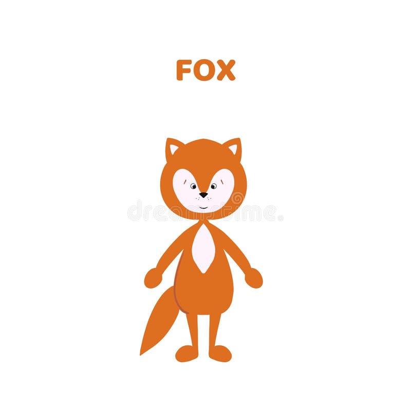 Κινούμενα σχέδια μια χαριτωμένη και αστεία αλεπού διανυσματική απεικόνιση