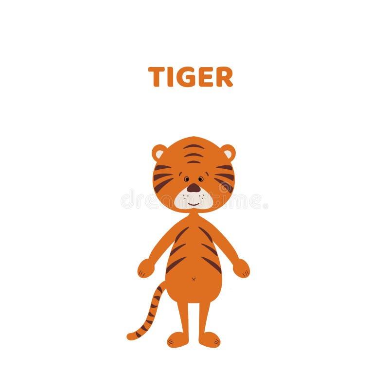 Κινούμενα σχέδια μια χαριτωμένη και αστεία τίγρη διανυσματική απεικόνιση