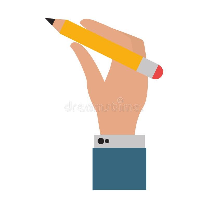 Κινούμενα σχέδια μολυβιών εκμετάλλευσης χεριών επιχειρηματιών απεικόνιση αποθεμάτων