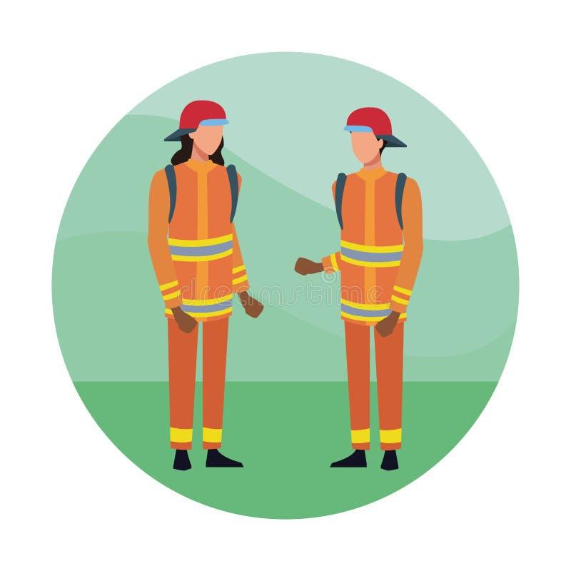 Κινούμενα σχέδια ομάδων πυροσβεστών απεικόνιση αποθεμάτων