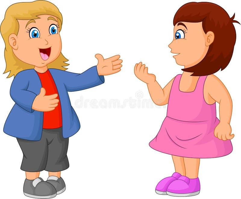 Κινούμενα σχέδια παιδιών που μιλούν ο ένας στον άλλο διανυσματική απεικόνιση