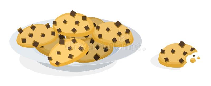 Κινούμενα σχέδια πιάτων μπισκότων ελεύθερη απεικόνιση δικαιώματος