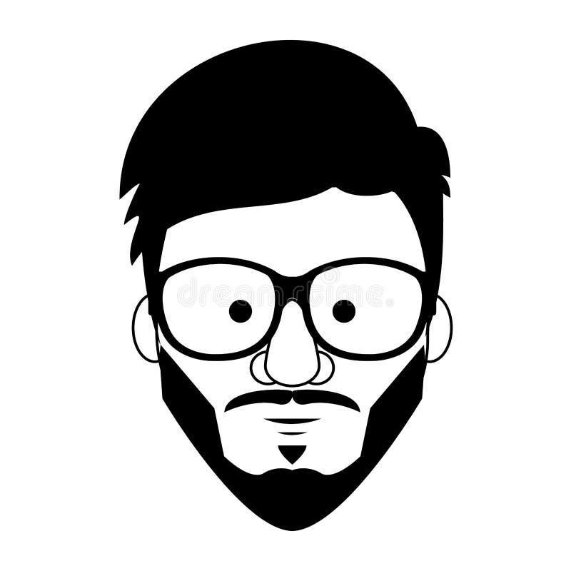 Κινούμενα σχέδια προσώπου τύπων Hipster σε γραπτό απεικόνιση αποθεμάτων