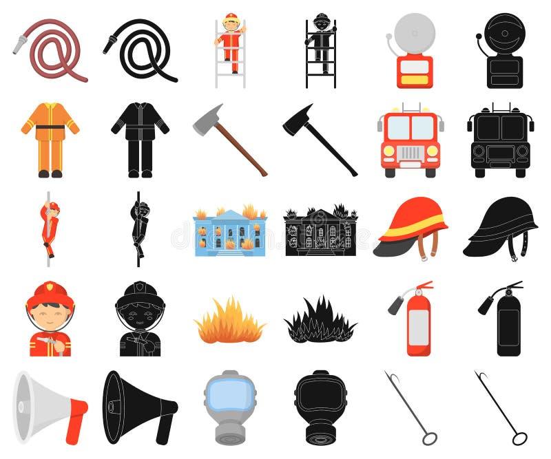 Κινούμενα σχέδια πυροσβεστικής υπηρεσίας, μαύρα εικονίδια στην καθορισμένη συλλογή για το σχέδιο Πυροσβέστες και διανυσματικός Ισ ελεύθερη απεικόνιση δικαιώματος