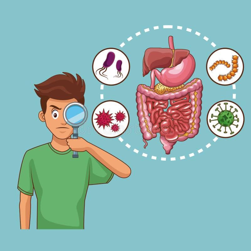 Κινούμενα σχέδια πόνου στομαχιών διανυσματική απεικόνιση