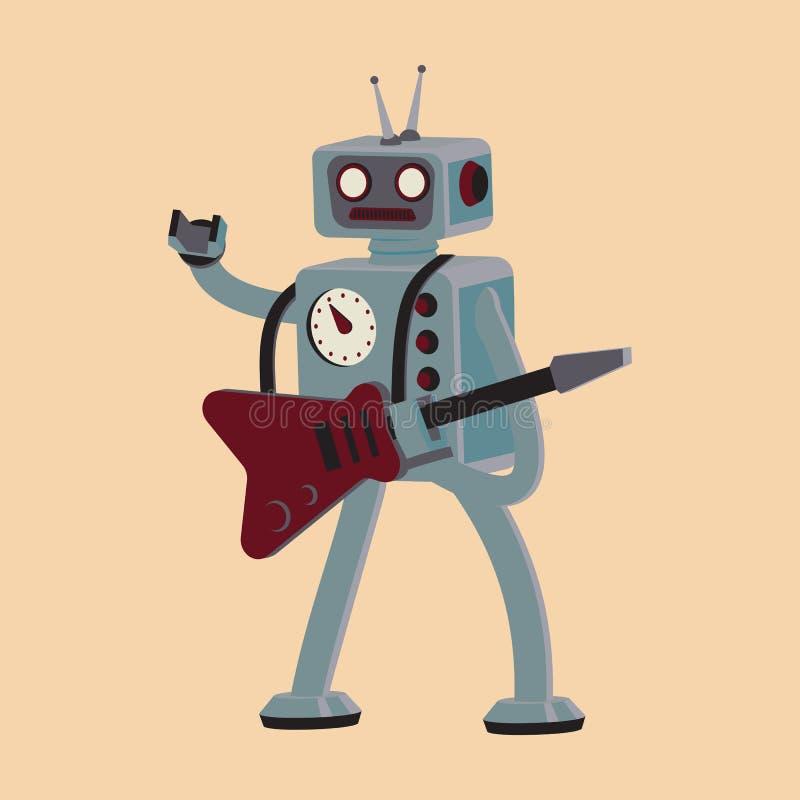 Κινούμενα σχέδια ρομπότ που παίζουν κιθάρα ελεύθερη απεικόνιση δικαιώματος