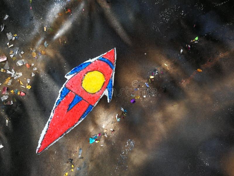 Κινούμενα σχέδια στοιχείων διαστημικών σκαφών στον πίνακα σπουδαστών στοκ φωτογραφίες με δικαίωμα ελεύθερης χρήσης