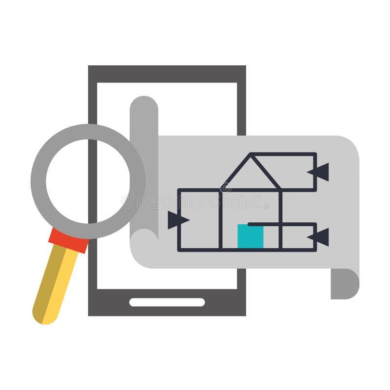 Κινούμενα σχέδια στοιχείων εργασίας αρχιτεκτονικής ελεύθερη απεικόνιση δικαιώματος