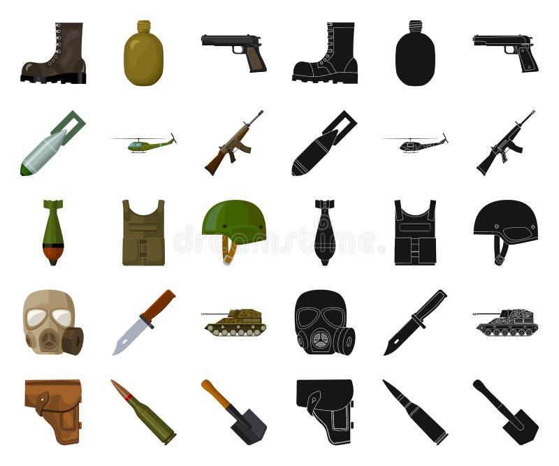Κινούμενα σχέδια στρατού και εξοπλισμών, μαύρα εικονίδια στην καθορισμένη συλλογή για το σχέδιο Όπλα και διανυσματικός Ιστός αποθ διανυσματική απεικόνιση