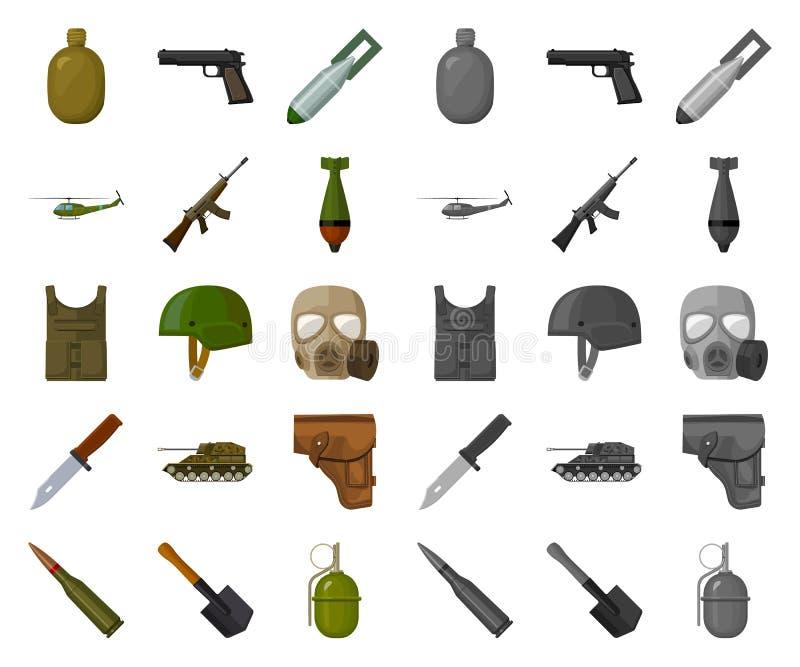Κινούμενα σχέδια στρατού και εξοπλισμών, μονο εικονίδια στην καθορισμένη συλλογή για το σχέδιο Όπλα και διανυσματικός Ιστός αποθε διανυσματική απεικόνιση