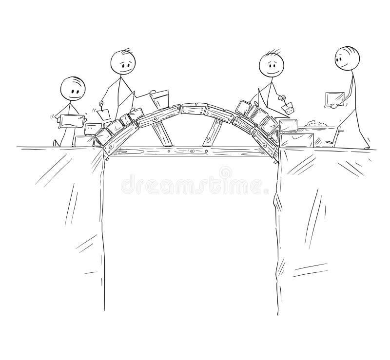 Κινούμενα σχέδια της ομάδας εργαζομένων, οικοδόμων ή επιχειρηματιών που χτίζουν μια γέφυρα πέρα από το χάσμα ή το βάραθρο διανυσματική απεικόνιση
