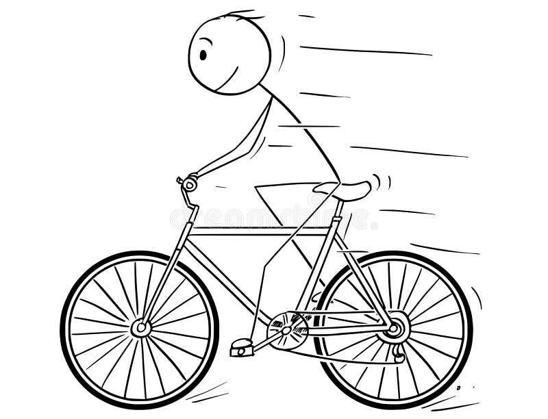 Κινούμενα σχέδια του ατόμου που οδηγούν στο ποδήλατο ελεύθερη απεικόνιση δικαιώματος