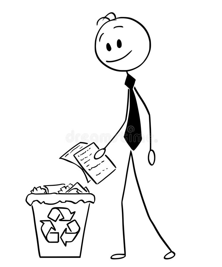 Κινούμενα σχέδια του επιχειρηματία που ρίχνει το έγγραφο στο ανακύκλωσης δοχείο απορριμμάτων ελεύθερη απεικόνιση δικαιώματος