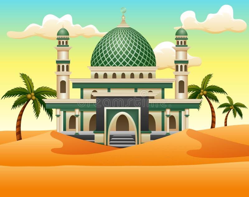 Κινούμενα σχέδια του ισλαμικού μουσουλμανικού τεμένους που στηρίζεται στην έρημο διανυσματική απεικόνιση