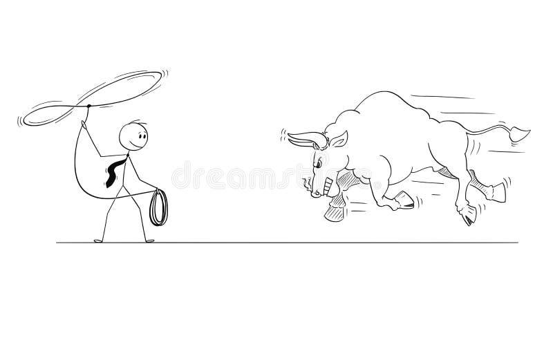 Κινούμενα σχέδια του κάουμποϋ επιχειρηματιών που προσπαθούν να πιάσει το Bull ως σύμβολο τιμών αγοράς αύξησης με το λάσο ή το σχο ελεύθερη απεικόνιση δικαιώματος